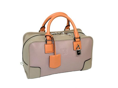 Loewe Amazona 28cm Limited Tri-color Peach/ Beige/ Toffee Tote-0
