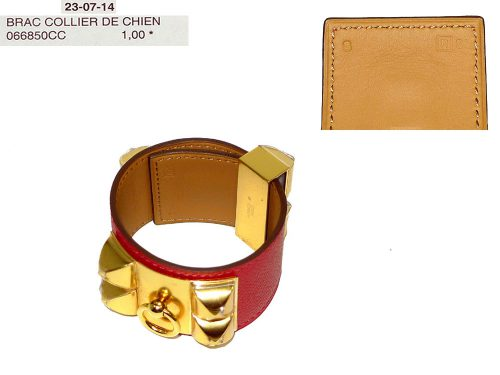 Hermes Collier De Chien CDC Rouge Casaque Gold Hardware R Stamp S Size Bracelet-0