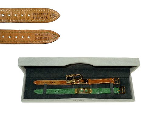 Hermes Vintage Kelly Watch Gold Hardware with 2 Leather Straps-0