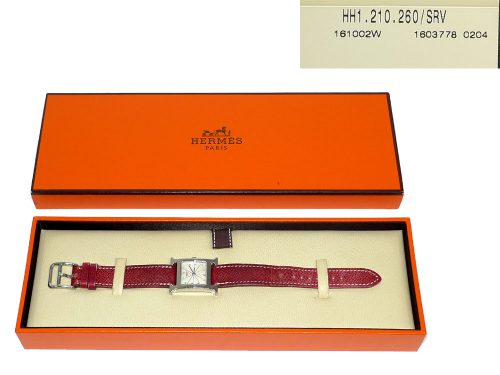 Hermes H Heure PM E Stamp Lady Silver Watch w Strap -0