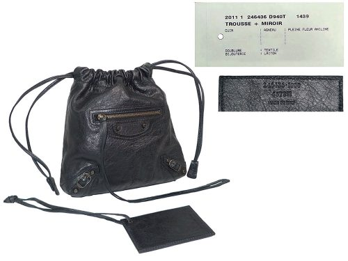 Balenciaga 246435 Black Move On Drawstring / Wrist Pouch-0
