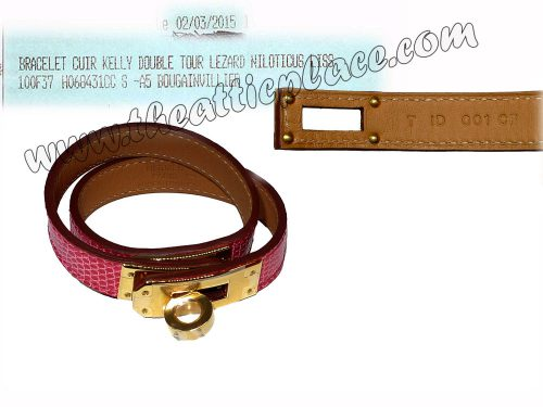 Hermes Lizard Niloticus Kelly Double Tour Bougainvillea XS Size T Stamp Gold Hardware-0