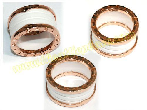 Bvlgari B.Zero 1 4 -Band 18KT Pink Gold Size 52 White Ceramic Ring-0