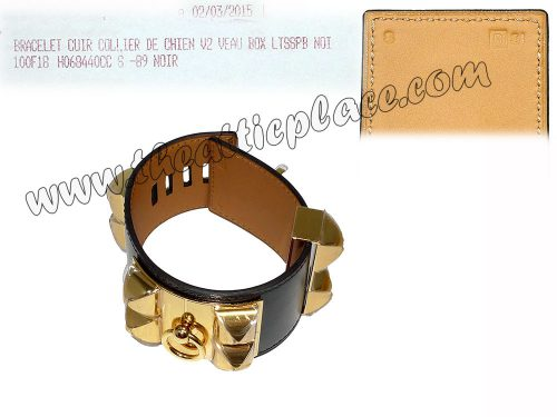 Hermes CDC Black Box Leather T Stamp S Size Gold Hardware-0
