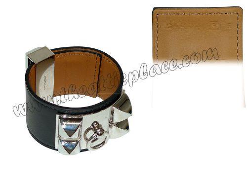 Hermes CDC P Stamp Black S Size Unisex Bracelet -0