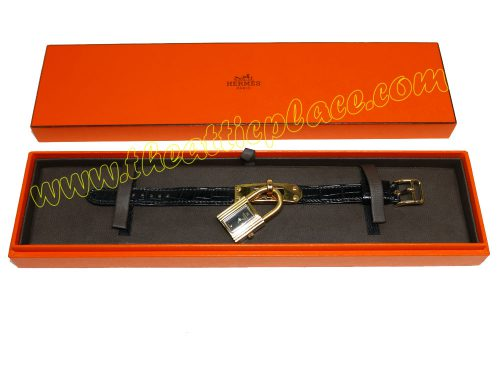 Hermes Kelly Watch Black Face Black Alligator M Strap with Gold Hardware-0
