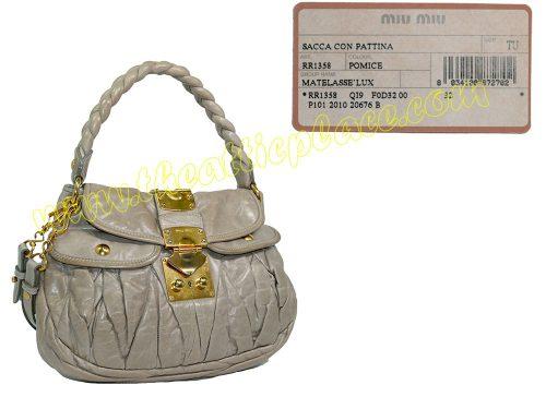 Miu Miu Beige Nappa Coffer Bag Small Messenger Bag-0