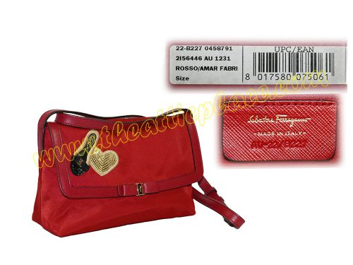 Ferragamo AU22/B227 Red Nylon with Sequins Flap Sling Bag -0