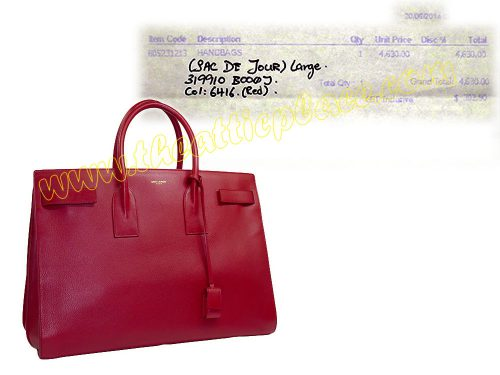 YSL Sac De Jour 40cm Large Red Calf Document Tote -0