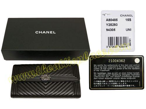 Chanel boy 21004362 Black Lambskin with Herringbone Quilting Flap Long Wallet-0
