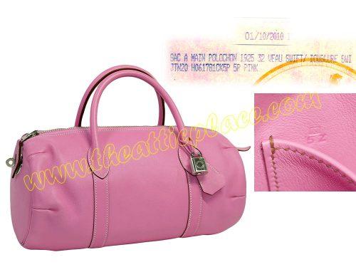 Hermes Pink Swift Polochon 32cm Tote N Stamp Tote Bag-0