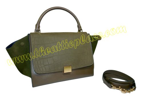 Celine Trapez Medium Olive Green Croco Embossed w Gold Hardware-0