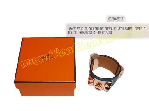 Hermes Bracelet CDC Swift Blue Colvert Small Unisex Rose Gold Hardware-0