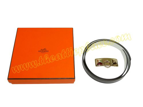 Hermes Buckle Sydney Permabrass Permab 24mm with 85cm Gris P/ Chocolate Reversible Belt-37574