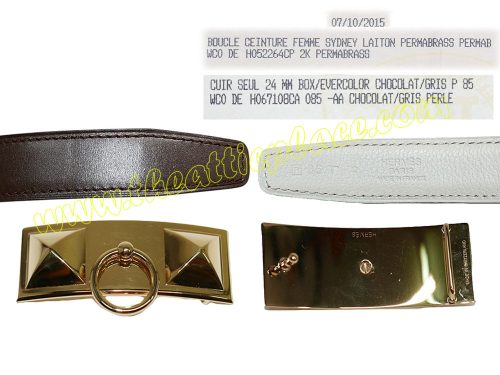 Hermes Buckle Sydney Permabrass Permab 24mm with 85cm Gris P/ Chocolate Reversible Belt-0