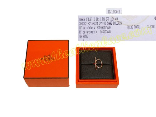 Hermes Gold Ring Filet D' Or H 18K Rose Gold PM Size 49-0