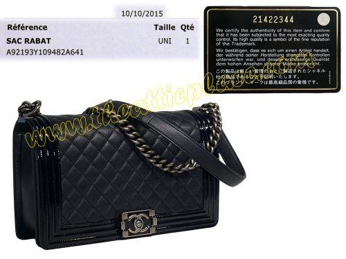 Chanel A92193Y New Medium Boy Chanel Flap 21422344 Blue Distressed Calf / Patent Ruthenium Hardware-0