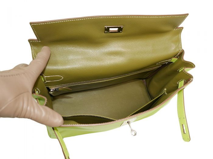 Hermes Kelly 35 Epsom Candy Color Kiwi / Lichen O Stamp Palladium Hardware-37792
