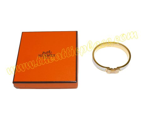 "Hermes Clic H 0.5"" Narrow White with Gold Enamel PM Size-0"