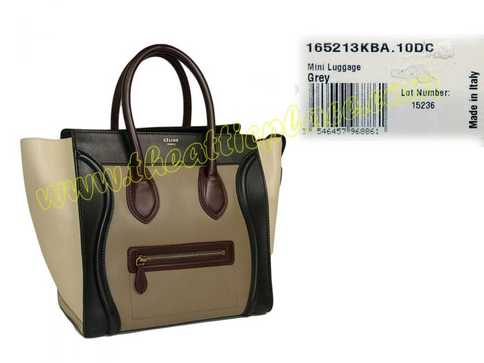 Celine 165213KBA Grey/ Burgundy/ Black/ Beige Calf Mini Luggage-0