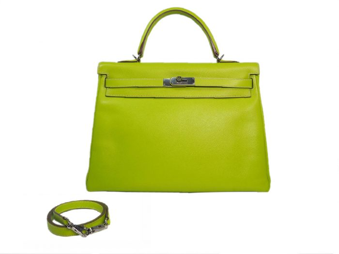 Hermes Kelly 35 Epsom Candy Color Kiwi / Lichen O Stamp Palladium Hardware-0