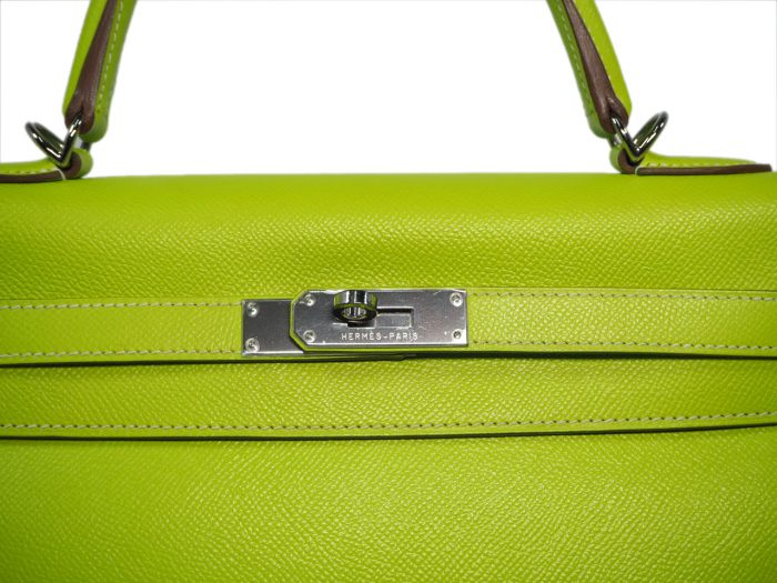 Hermes Kelly 35 Epsom Candy Color Kiwi / Lichen O Stamp Palladium Hardware-37789
