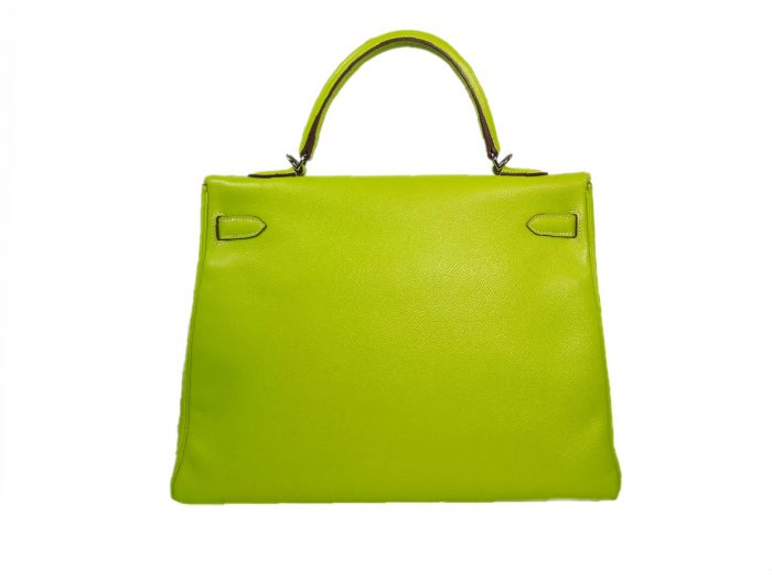 Hermes Kelly 35 Epsom Candy Color Kiwi / Lichen O Stamp Palladium Hardware-37787