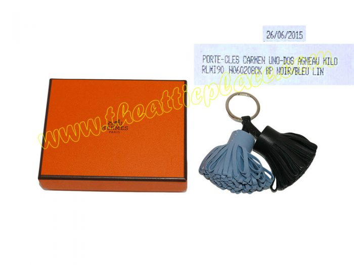 Hermes Duo Carmen Noir/ Bleu Lin Key Ring/ Bag Charm for Birkin/ Kelly-0