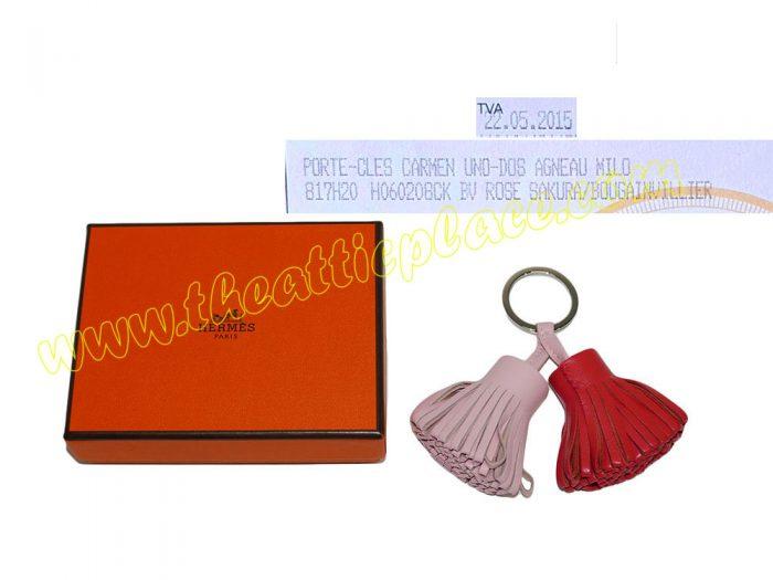 Hermes Duo Carmen Rose/ Bougainvillier Key Ring/ Bag Charm for Birkin/ Kelly -0