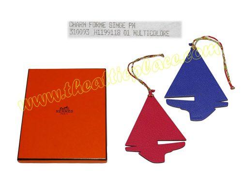 Hermes Petit H Boat Blue Electric / Rose Pivione Bag Charm for Birkin/ Kelly-0