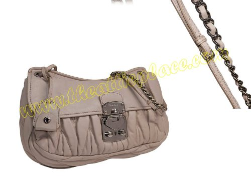 Miu Miu Grey Matelasse Flap w Back Zip Pocket Shoulder/ Messenger Bag-0