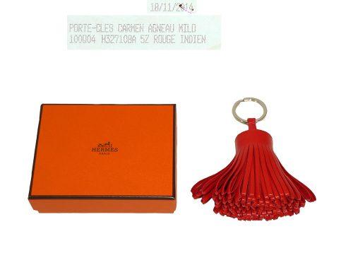 Hermes Carmen Rouge Indien Bag Charm/ Key Holder-0