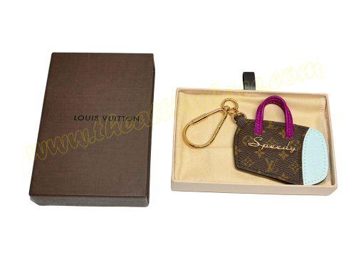 "Louis Vuitton LP05208 Purple/Blue Epi Leather with Monogram Canvas ""Speedy"" Bag Charm/ Key chain/ Holder -0"