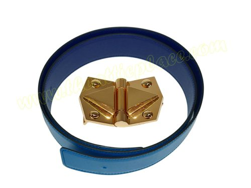 Hermes 42mm Electric Blue/ Makano Belt Size 95 w Big Buckle Gold Hardware-0