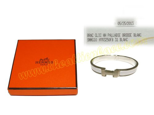 "Hermes Clic H Bracelet 0.5"" Narrow White/ Blanc GM Size in Mat Palladium Hardware -0"