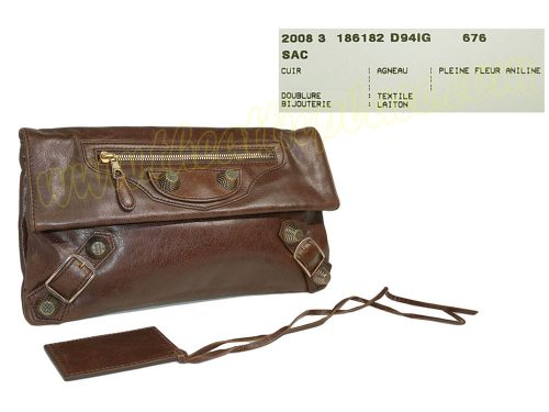 Balenciaga 186182 Charbon Envelope Clutch/ Pochette Giant Rose Gold Hardware -0