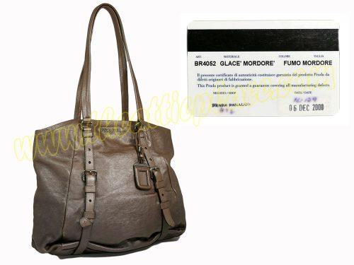 Prada BR4052 Degraded Glace Leather Fumo Mordore/ Smoked Bronze Shoulder Bag-0