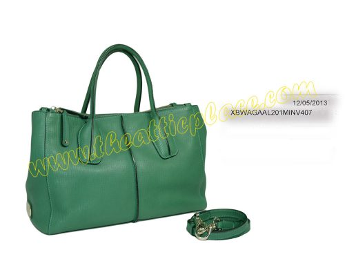 Tod's Green D-Styling Shopping Due Zip Bag with Strap-0