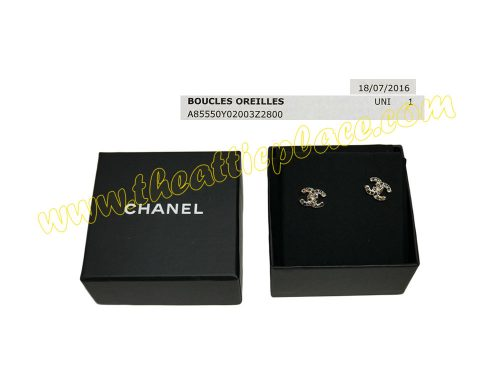 Chanel A97070Y Gold CC Logo with Colors Rhinestone Studs / Pierce Earrings -0