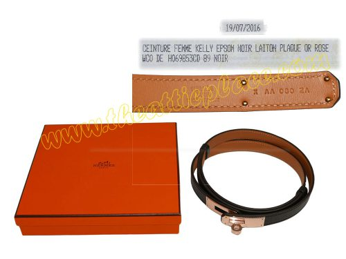 Hermes Black Epsom Adjustbale Kelly Belt Rose Gold Hardware-0