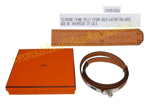 Hermes Gold/ Tan Epsom Adjustbale Kelly Belt Palladium Hardware-0