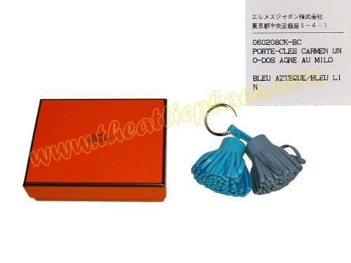 Hermes Duo Carmen Bleu Azteque/ Bleu Lin Key Charm for Birkin Bags/ Kelly Bags -0