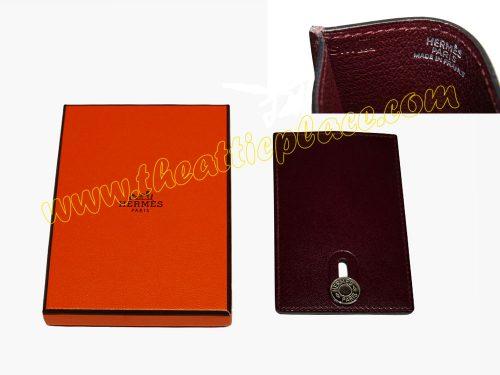 Hermes Rouge H Diabolo MRT/ Card Holder M Stamp Palladium Hardware-0
