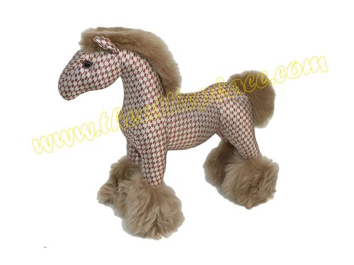 Hermes Limited Hermy PPM Horse Red H Print with Fur for Display / Toys / Gift-0