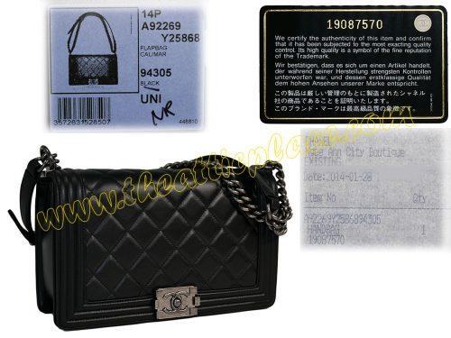 "Chanel 19087570 Boy Chanel Flap Bag in Black Lambskin "" New Medium "" Size Ruthenium Aged Hardware-0"