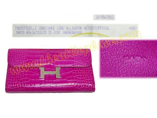 Hermes Shiny Rose Scheherzade Alligator Constance Wallet P Stamp Palladium Hardware -0