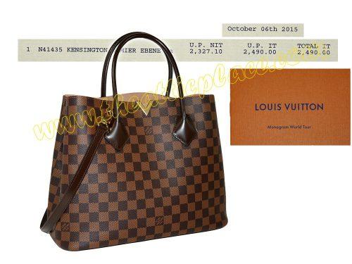 Louis Vuitton N41435 Kensington Damier Ebene Tote w Strap-0