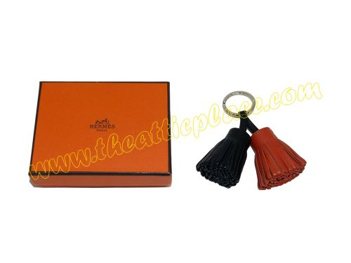 Hermes Duo Carmen Black/Brown Bag Charm/ Key Ring/ Holder-0