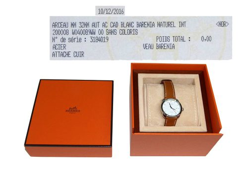 Hermes Barenia Natural 32mm Automatic Arceau MM Medium Size Watch for Unisex-0