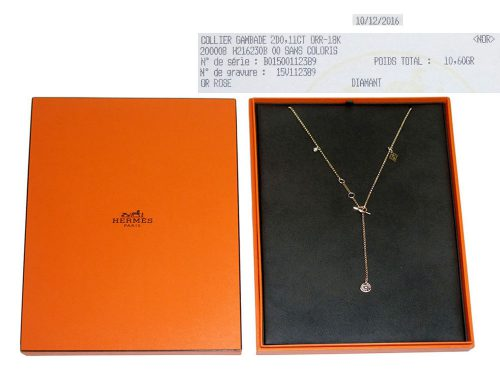 Hermes Collier Gambade Necklace in Rose Gold Set with 2 diamonds-0